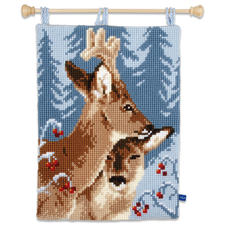 """Kreuzstich-Wandbehang """"Rehe"""" Winterliche Stickideen"""