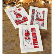 """3 Weihnachtskarten mit Umschlägen im Set """"Weihnachts-Wichtel"""" 3 Weihnachtskarten mit Umschlägen im Set."""