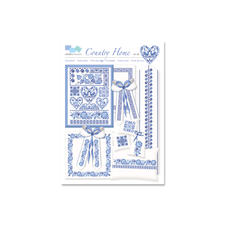 Kreuzstich-Zählmuster-Vorlagen - Country Home Stickereien in Blau-Weiß – luftig frisch und dennoch zeitlos klassisch.