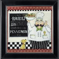 """Kreuzstichbild """"Pasta Chef"""" Dekoratives für die Küche."""