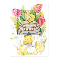 """Grußkarten mit Umschlägen """"Osterzeit"""" Farbenfrohe Stickideen zur Osterzeit."""