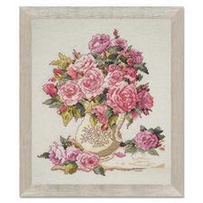 Kreuzstichbild - Chinesische Rosen