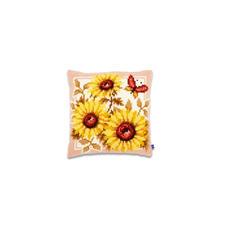 """Kreuzstichkissen """"Sonnenblumen mit Schmetterling"""""""