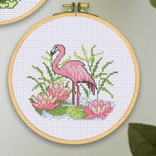 Stickbild mit Holzrahmen - Flamingo Stickbilder mit Holzrahmen im Set.