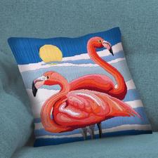 Stylisches Longstich-Kissen, Flamingo.