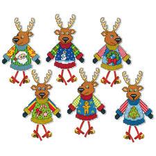 Lustige Hirsche, 6 Weihnachtsanhänger im Set Kreuzstich-Anhänger