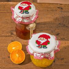 Wichtel, 2 Marmeladenglas-Deckchen im Set Die skandinavische Weihnachtstradition: putzige Wichtel.