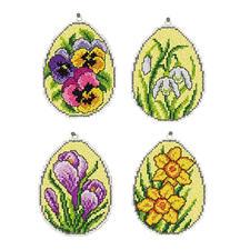 4er-Set Deko-Anhänger - Florale Ostereier