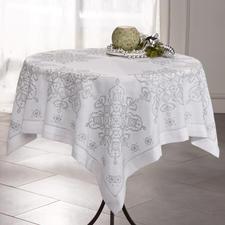 Tischdecke, Mosaik, Weiß/Silber