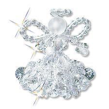6 Kristallengel im Set, 5 cm Glamouröser Perlen-Weihnachtsschmuck – als Komplettpackungen zum kreativen Selbermachen.