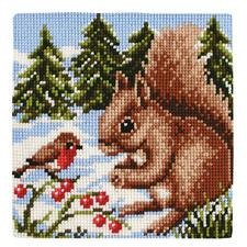 """Kreuzstichkissen """"Eichhörnchen"""""""