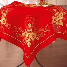 Tischdecke, Kerzengesteck, Rot/Gold