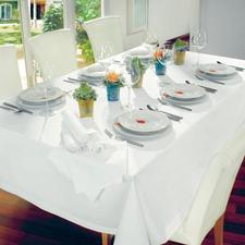 Tischdecke inkl. 6 Servietten Baumwoll-Satin Tischdecke mit breitem Wäschesaum. Baumwoll-Satin Tischdecken mit breitem Wäschesaum.