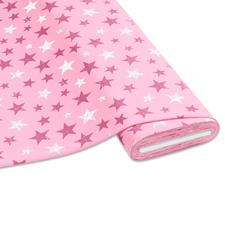"""Meterware Baumwoll-Jersey """"Stripe"""", Rosa Stylische Sternendrucke für Ihre individuellen Näh-Ideen"""