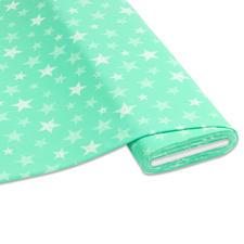 """Meterware Baumwoll-Jersey """"Stripe"""", Mint Stylische Sternendrucke für Ihre individuellen Näh-Ideen"""