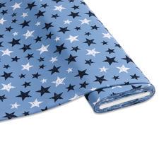 """Meterware Baumwoll-Jersey """"Stripe"""", Pastellblau Stylische Sternendrucke für Ihre individuellen Näh-Ideen"""