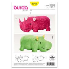 """Burda Schnitt 6560 """"Kuscheltier Nashorn & Nilpferd""""."""