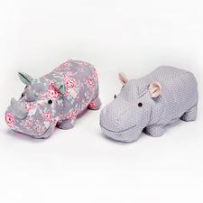 Näh-Idee - Kuscheltiere Nashorn & Nilpferd