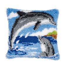 """Knüpfkissen """"Zwei Delfine"""""""