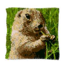 """Knüpfkissen """"Murmeltier"""" Naturalistische Tiermotive"""