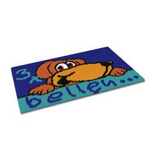 """Kreuzstich-Fußmatte """"3 x bellen"""" Jetzt neu – gestickte Fußmatten."""