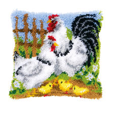 Knüpfkissen - Hühnerfamilie Knüpfideen – schnell und leicht.