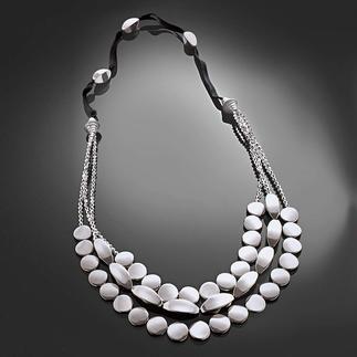 Komplettpackung - Kette Silberreigen Schwarz, Weiß, Silber – modern und zeitlos zugleich.