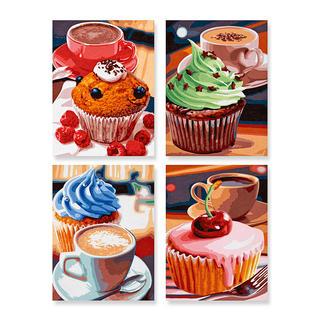Malen nach Zahlen Quattro - Cupcakes Quattro - 4 Bilder im Set.