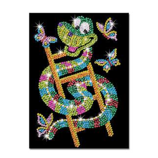 Paillettenbild für Kinder - Schlange Sidney Glitzernde Paillettenbilder – ganz einfach gesteckt