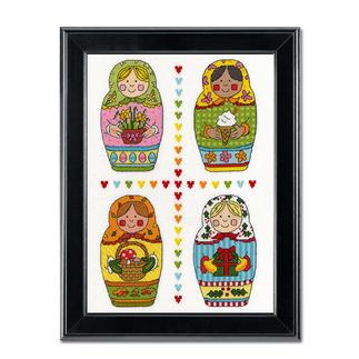 Kreuzstichbild - Four Russian Dolls