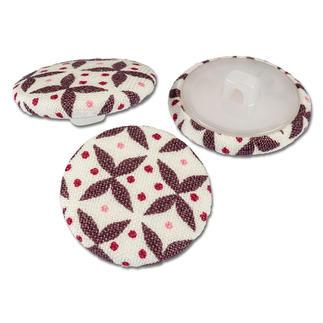 4 Stoffknöpfe im Set - Fenton House, Aubergine Farblich ideal aufeinander abgestimmte Stoffknöpfe.