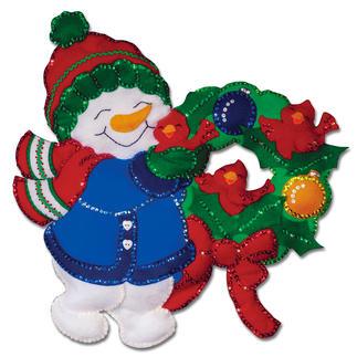Wandbehang - Süßer Schneemann Weihnachtliches Basteln mit Filz