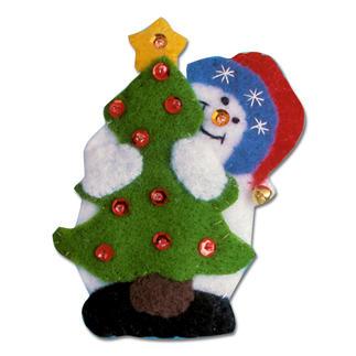 3 Weihnachtsfiguren - Santa und Schneemänner im Set Weihnachtliches Basteln mit Filz.