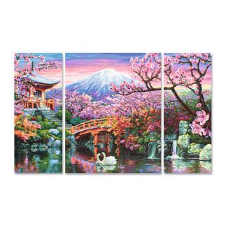 Malen nach Zahlen - Triptychon Kirschblüte in Japan