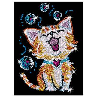 Paillettenbild für Kinder - Kätzchen Glitzernde Paillettenbilder – ganz einfach gesteckt.