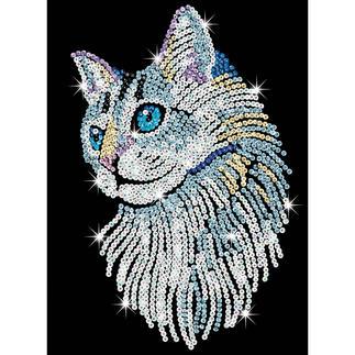 Paillettenbild für Erwachsene - Weiße Katze Paillettenbilder mit eindrucksvollen Motiven
