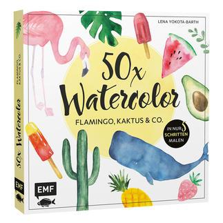 Buch - 50x Watercolor: Flamingo, Kaktus & Co