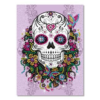 Paillettenbild für Teens - Flower Skull Glitzernde Paillettenbilder – ganz einfach gesteckt