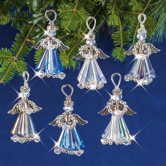 6 Kristallengel im Set, 4 cm, Silberfarben 6 Kristallengel im Set, 4 cm. Silberfarben