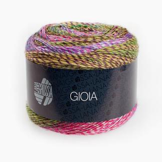 Gioia von Lana Grossa Farbenfroh und Bunt! Unterschiedlich bedruckte Dochtgarne werden miteinander verzwirnt.  Leuchtende Farben in beeindruckender Optik.
