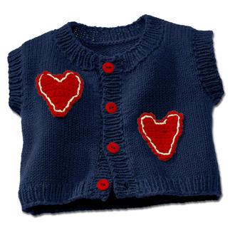 Anleitung 325/3, Babyweste mit Häkelapplikation aus Merino-Cotton von Junghans-Wolle
