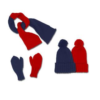 Anleitung 330/3, 2-farbiger Schal, Mütze und Fausthandschuhe aus Merino-Cotton von Junghans-Wolle