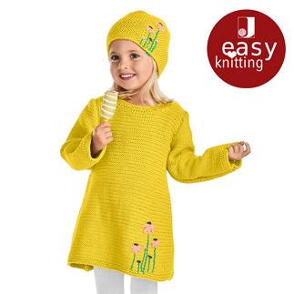 Anleitung 001/9, Kinderkleid und Mütze aus Cotonara von Junghans-Wolle