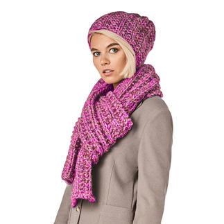 Anleitung 384/9, Schal mit Mütze 3-fädig aus Alpaca-Cotton von Junghans-Wolle