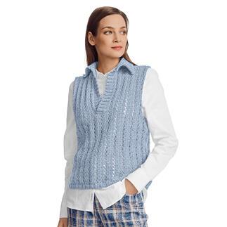Anleitung 099/1, Polo-Pullunder aus Merino-Cotton von Junghans-Wolle