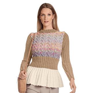 Anleitung 115/1, Pullover mit Schößchen aus Monello-90 Uni und Monello-90 Color von Junghans-Wolle