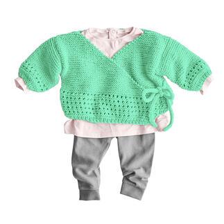 Anleitung 444/1, Baby Wickeljacke aus Nuovo Merino 120 von Junghans-Wolle