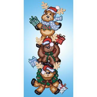 Wand- oder Türdeko - Lustige Rentiere Stickideen zur Weihnachtszeit.
