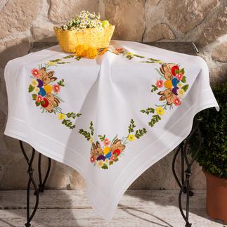 Tischdecke mit eingewebtem Zierrand - Osternest