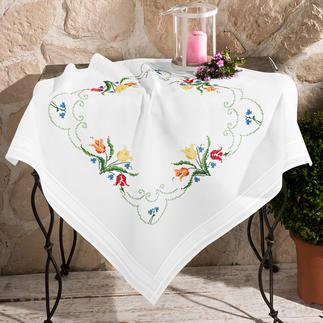 Tischwäsche mit eingewebtem Zierrand - Bunte Tulpen